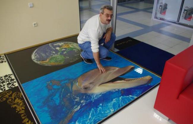 Пример наливного пола с изображением дельфина