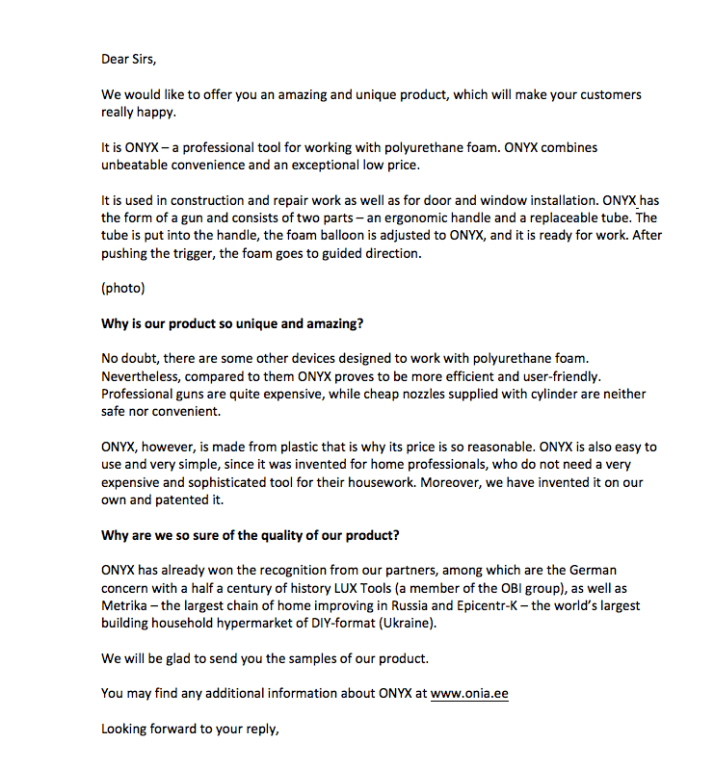 Образец Письма с Коммерческим Предложением
