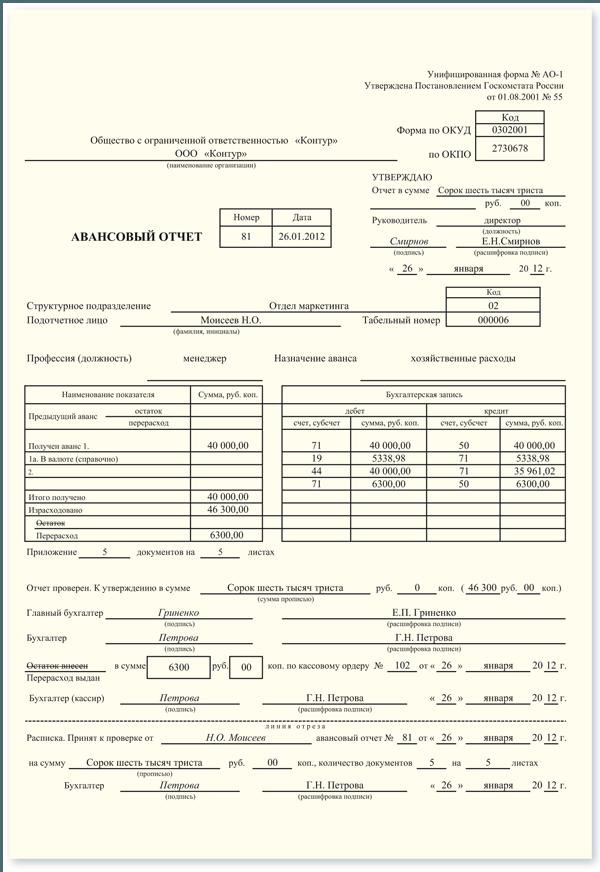 Авансовый отчет как заполнять если подотчетник образец