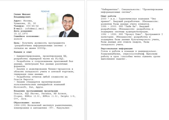 Пример резюме программиста-разработчика