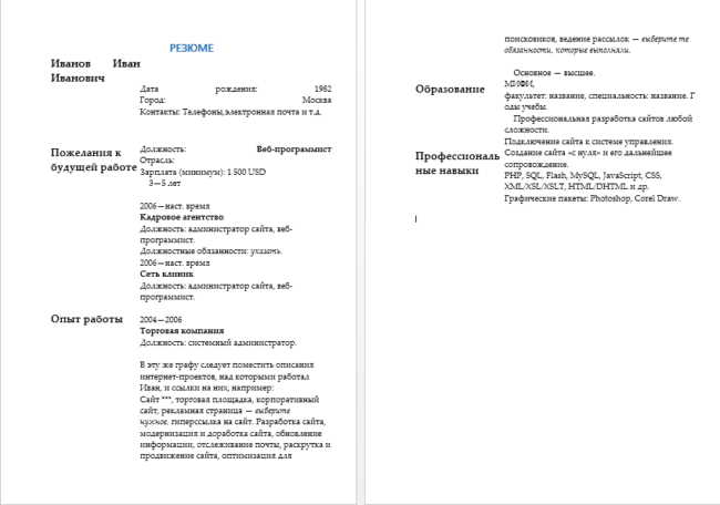 Пример резюме веб-программиста