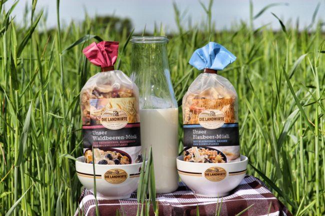 Молоко и крекеры в траве