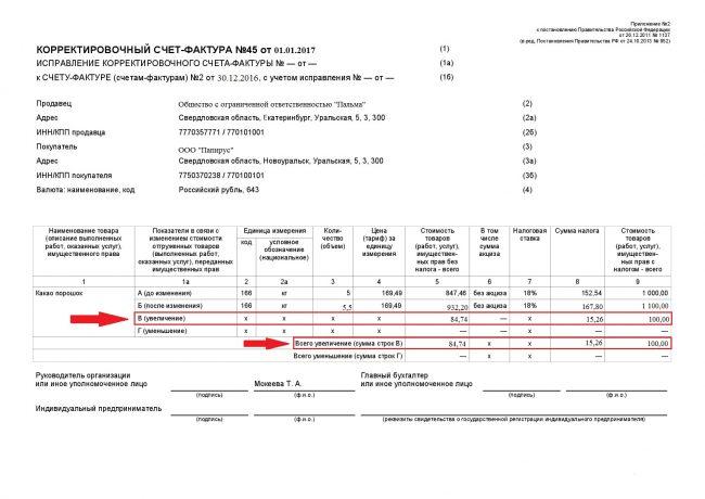 Образец заполнения КСФ при увеличении количества товара
