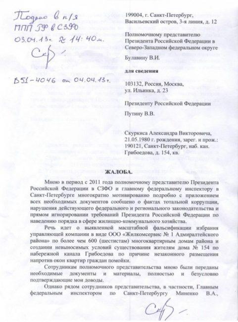 Жалоба, направленная В. В. Путину