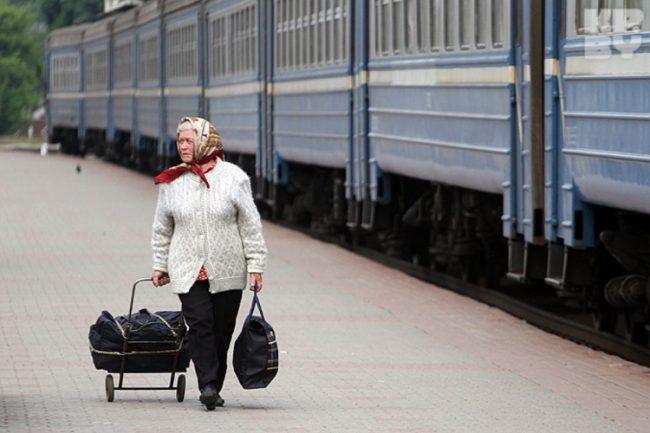 Пенсионерка на вокзале
