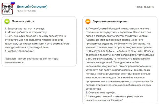 Отзыв о Яндекс Такси