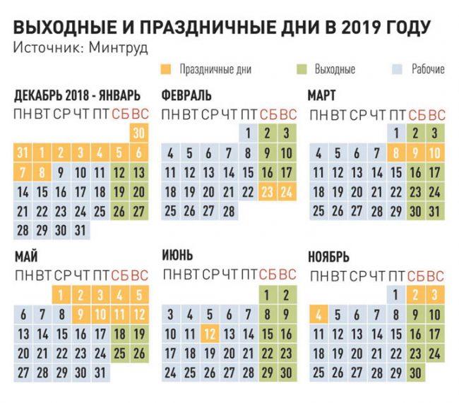 Календарь выходных и праздников в 2019