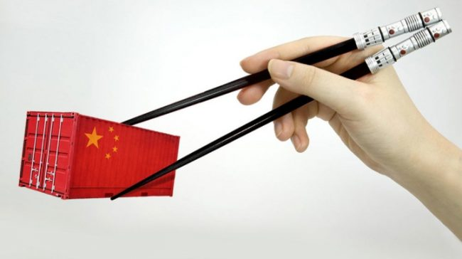 Китайские палочки товарный контейнер в уменьшенном масштабе