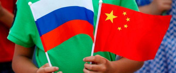 Флаг России и Китая