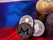 Криптовалюты на фоне флага России