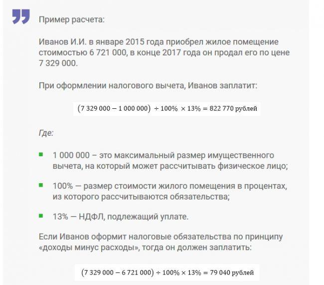 Пример расчёта налога при продаже квартиры