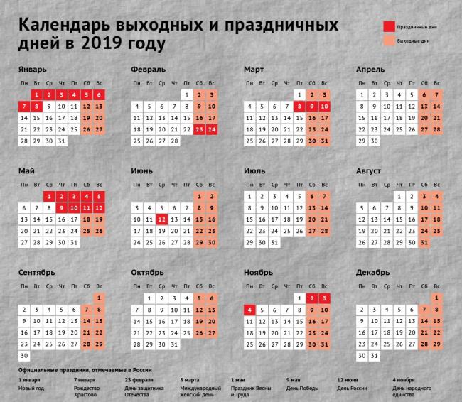 Календарь праздничных дней в 2019 году