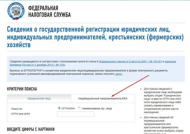 Способ узнать ОГРНИП через сайт фискальной службы, шаг 2