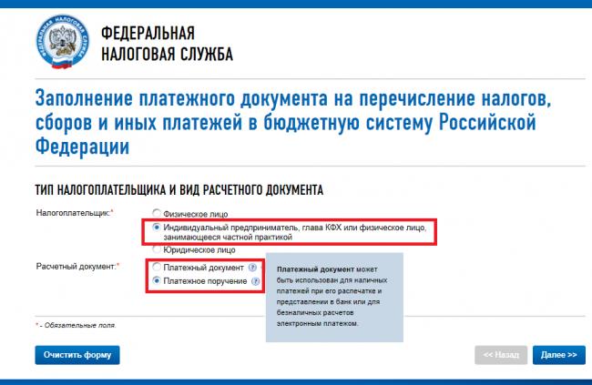 Заполнение платёжного документа на перечисление ИП страхового взноса на сайте ФНС