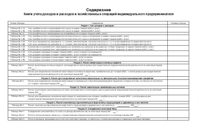 Содержание Книги учёта ИП на ОСНО