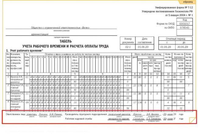 Пример визирования табеля учёта