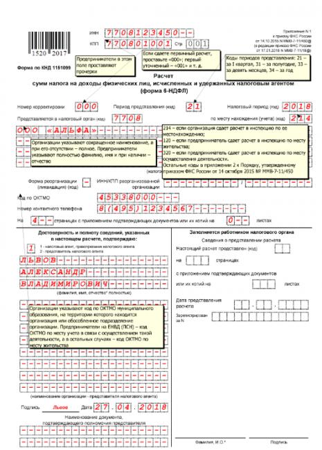 Титульный лист формы 6-НДФЛ (образец)