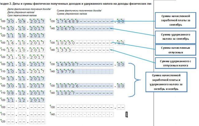 Раздел №2 формы 6-НДФЛ