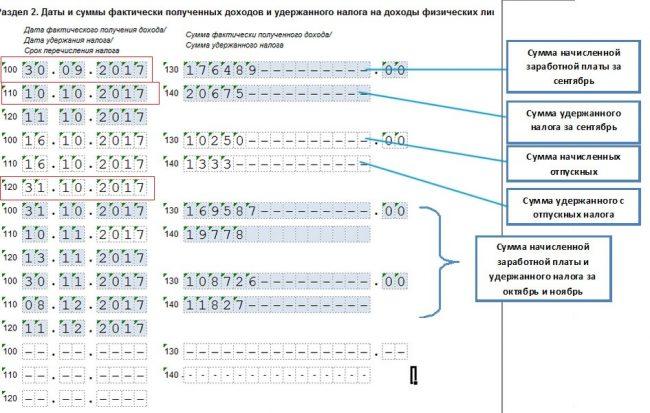 Раздел №2 формы 6-НДФЛ с выделенными строками 100, 110 и 120