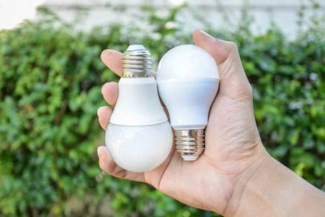 Две светодиодные лампы в руке
