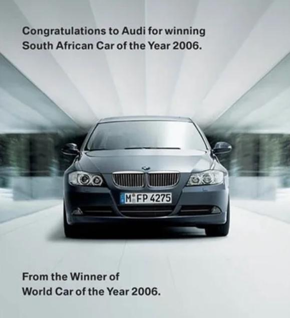 Реклама BMW, троллящая Audi