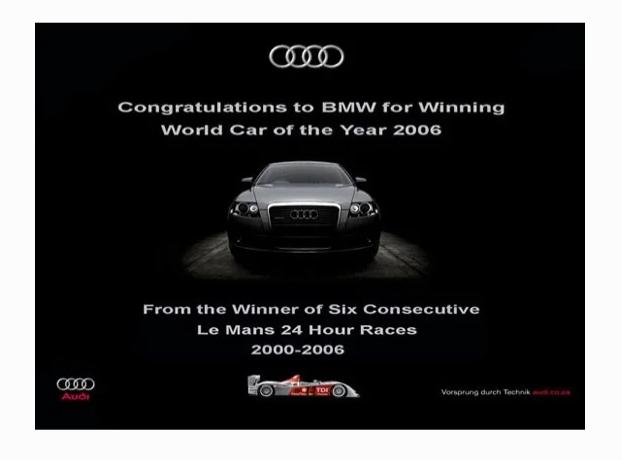 Ответная реклама Audi, троллящая BMW