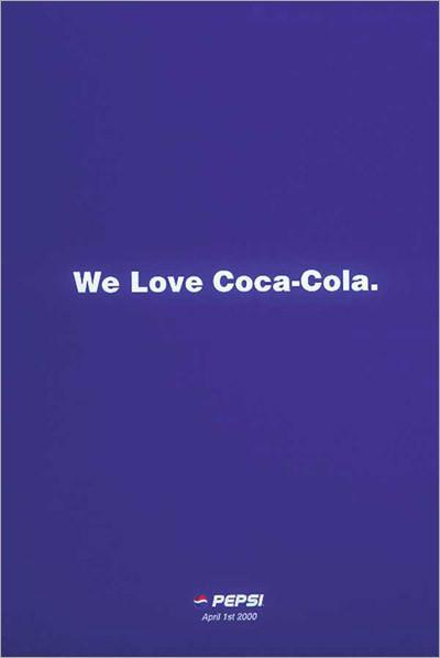 Рекламный постер Pepsi, «подкалывающий» Coca-Cola