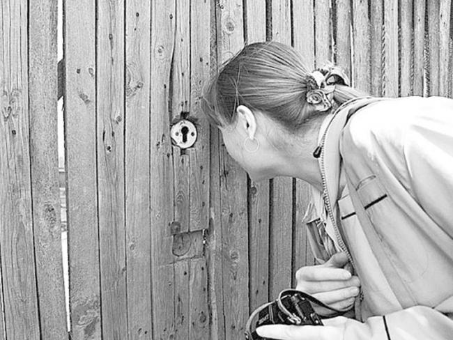 Девушка смотрит сквозь щель в заборе